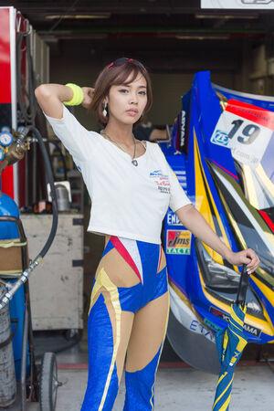 buriram: BURIRAM - OCTOBER 4 : Wedsport race queen during pit walk session in Buriram United Super GT Race ,October 4, 2014 Buriram, Thailand.