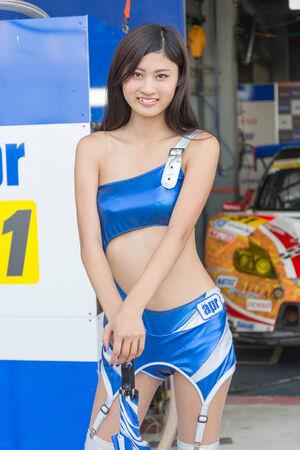 buriram: BURIRAM - OCTOBER 4 : APR race queen during pit walk session in Buriram United Super GT Race ,October 4, 2014 Buriram, Thailand. Editorial