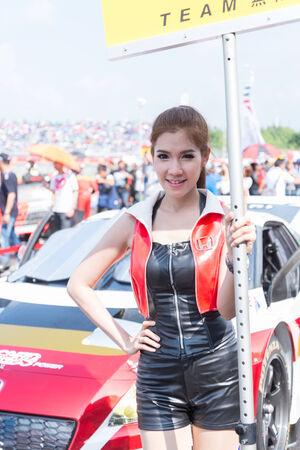 buriram: BURIRAM - OCTOBER 5 : Honda race queen during grid walk session in Buriram United Super GT Race ,October 5, 2014 Buriram, Thailand.