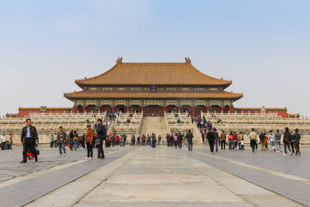CHINA - APRIL 10: Tourist walking around Tiananmen forbidden city in Beijing,China, 10 April 2012