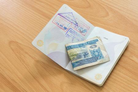 lao: R�publique d�mocratique populaire lao passeport timbre avec Kip argent Banque d'images