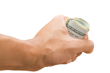 grasp: hand grasp roll of dollar bills, isolated