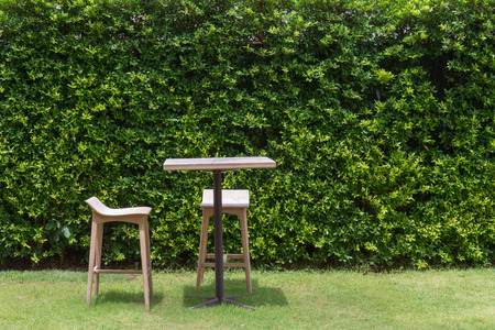 wooden table chair set green leaf wall photo