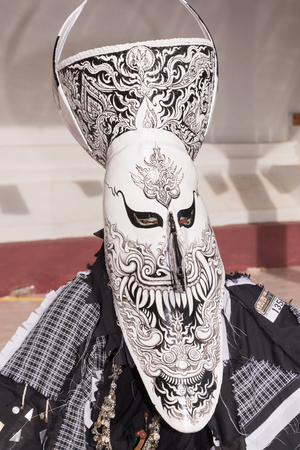 LOEI, THAILAND - JUNE 28 : close up of mask in Phi ta khon halloween festival on June 28 2014 in Loei, Thailand