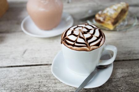 choco: choco latte cup of hot coffee Stock Photo