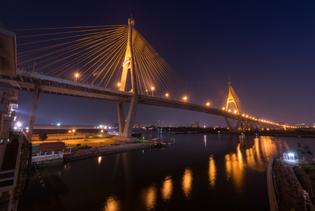 bhumibol: night scene of Bhumibol industrial suspension bridge
