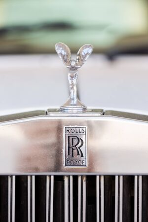 ecstasy: PAKCHONG - MARCH 04 : Rolls Royce emblem badge on front trunk in test drive event on March 04, 2015, Pakchong, Nakornratchaseema