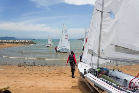 thier: JOMTIEN, THAILAND - MAY 01 : Unidentified competitors set sail thier boats in Top of the Gulf Regatta event at Jomtien beach Pataya May 01, 2015 Editorial
