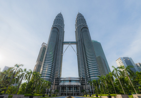 KUALA LUMPUR MALAYSIA  APRIL 16: Front view of Petronas Twin towers KLCC at Kuala Lumper Malaysia on April 162015 Redakční
