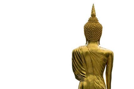 golden standing buddha statue back isolated on white background photo