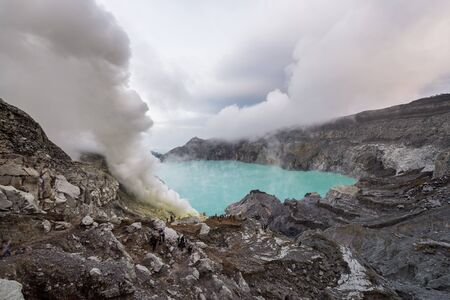 kawah ijen sulfur volcano crater tourist view sight