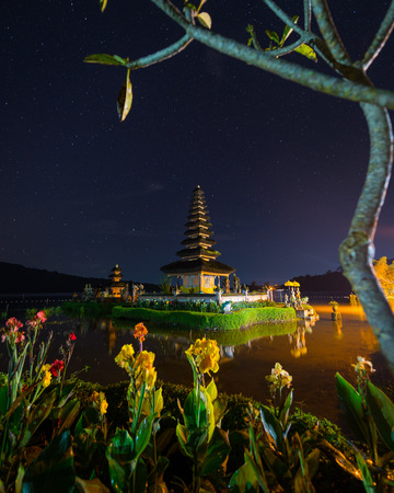 ulun: night scene of Pura Ulun Danu temple on a lake Beratan, Bali, Indonesia