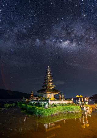 milkyway: night scene milkyway over Pura Ulun Danu temple on a lake Beratan, Bali, Indonesia