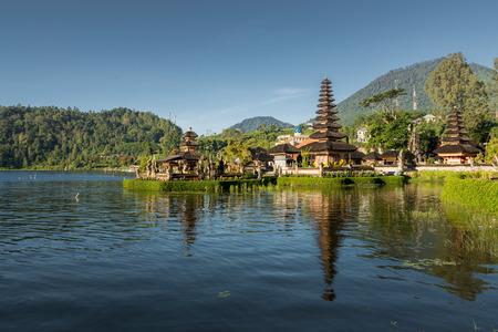 ulun: pond front view of Pura Ulun Danu temple on a lake Beratan, Bali, Indonesia