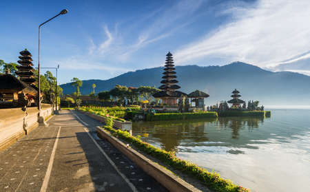 danu: front footpath of Pura Ulun Danu temple on a lake Beratan, Bali, Indonesia