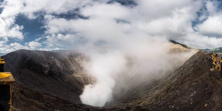 active volcano: panorama shot of Bromo active volcano crater