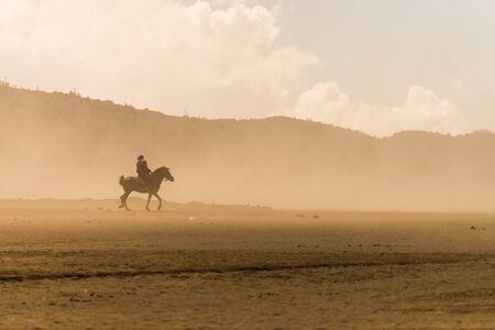 horse rider riding on desert in sand storm Reklamní fotografie