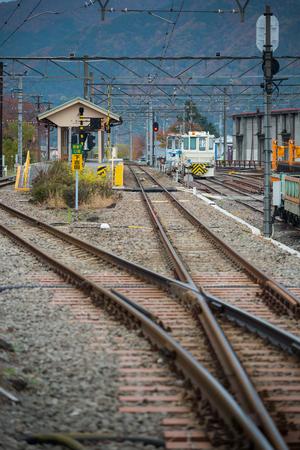 vertical composition: Shimoyoshida station of Fujikyu railway rail platform, vertical composition