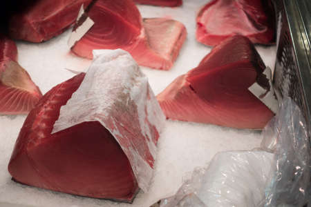 Tuna raw sliced fish store at Tsukiji sea food market, Japan Reklamní fotografie