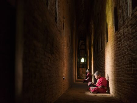 Two Myanmar monks meditating reading book in the temple