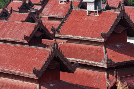 detail of the red roof of Mandalay Palace in Myanmar Redakční
