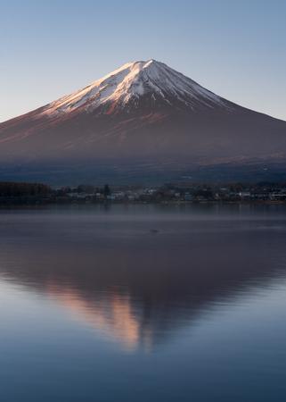 Morning light of mount Fuji reflection with Kawaguchiko lake Reklamní fotografie