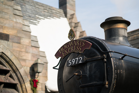 Hogwarts Express metal label front of the train in Harry Potter movies in Universal Studios Japan Redakční