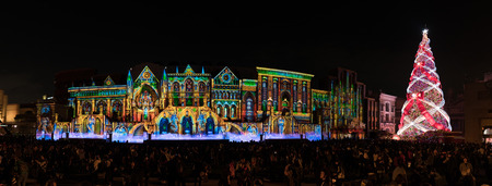 Panorama of light show and Christmas tree in Universal Studios Japan