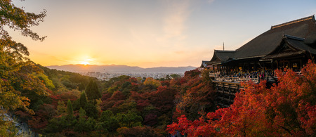 sight seeing: Panorama of tourists travel sight seeing at Kiyomizu Dera temple evening in Kyoto, Japan Editorial