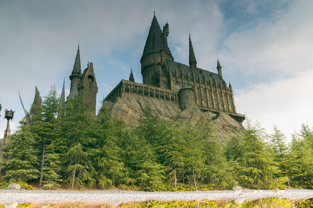 water reflections Hogwarts castle the school of wizardry in Harry Potter movies in Universal Studios Japan
