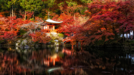 Panorama of Bentendo hall inside Daigo Ji temple with autumn red meple leaves tree in Kyoto, Japan