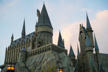 OSAKA, JAPAN - January 14,2017 : Hogwarts castle from Harry Potter movies close up in the evening