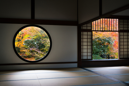 famous The window of enlightenment and The window of confusion in Genko An temple in Kyoto, Japan