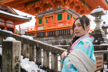 young woman in kimono front of japanese temple pagoda