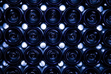 Closeup of folded bottles of champagne