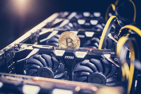 Big IT machine with fans. Bitcoin mining farm