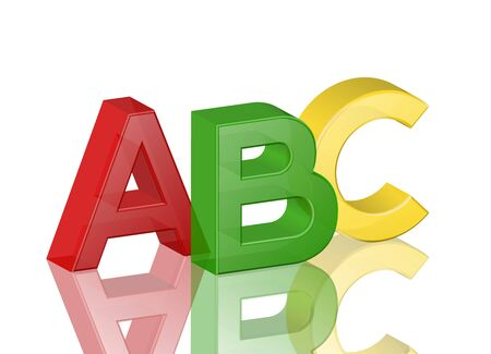 abc blocks: Colorful transparent alphabet abc with reflection