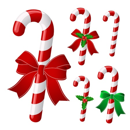 candy cane: Candy cane collection with ribbon and holly   Vector