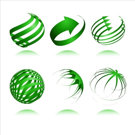wereldbol groen: set van 3d abstracte vector sfeer element