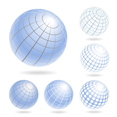 globe grid: Vector design elements of light blue globes
