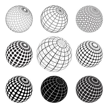 ligne: ensemble du globe vektor noir et blanc Illustration