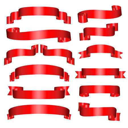 gloss banner: Banners set of thirteen red banners on the white Illustration