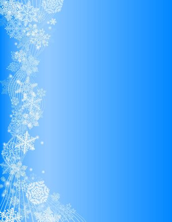 frozen waves: Abstract blue Christmas Background with white Snowflake