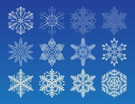 frieren: Dekorative Vektor-Schneeflocken Set - Winter-Serie Clip-Art