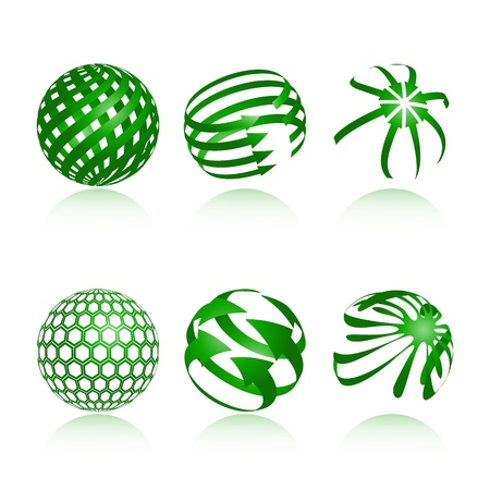 globe abstract: collection of abstract green globe icons and symbols
