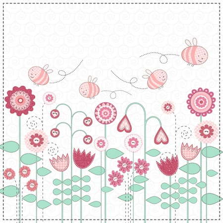 Cute bees are flying over flower meadow Illustration