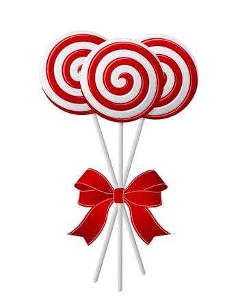 キャラメル: 赤いリボンとお菓子を赤と白の束  イラスト・ベクター素材