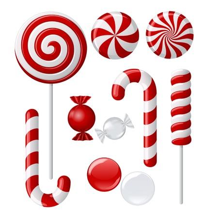paletas de caramelo: Conjunto de vectores con distintos dulces de color rojo y blanco Vectores