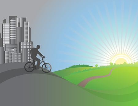 a cyclist intends to leave the city and ride in the fields Vector