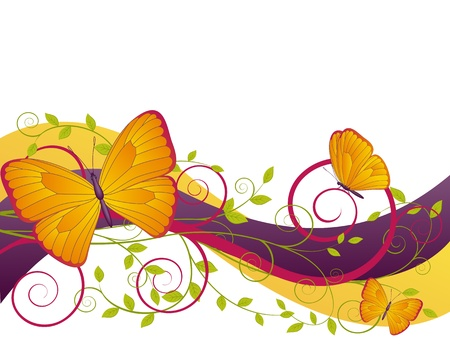 nature abstract: decorative floral card with  branches and butterflies  Illustration